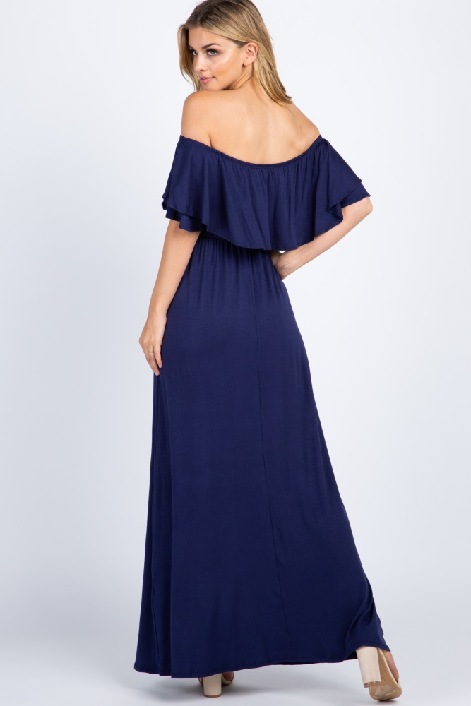 b29c7df6824 Navy Off Shoulder Ruffle Trim Maternity Maxi Dress
