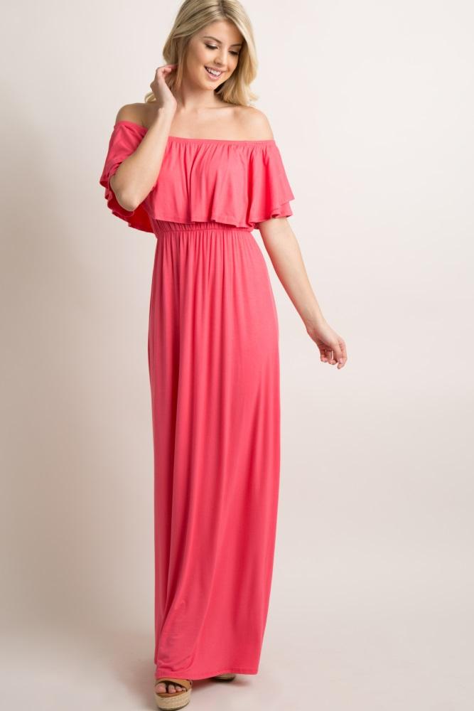 af917263f1322 Coral Off Shoulder Ruffle Trim Maternity Maxi Dress