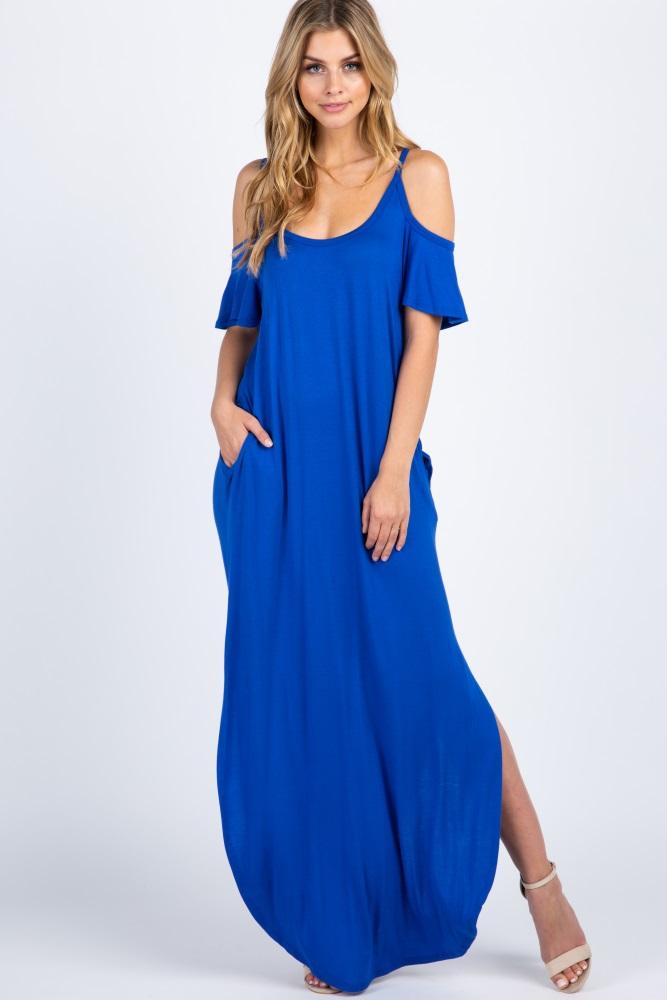 7b84e576d72b4 Royal Cold Shoulder Maxi Maternity Dress