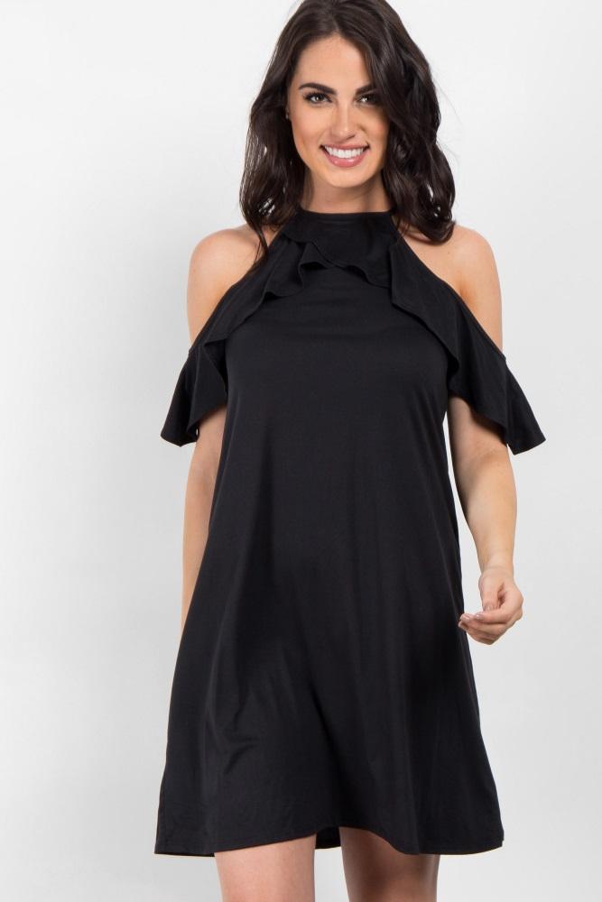 9b8406a8c3ab Black Open Shoulder Ruffle Maternity Dress