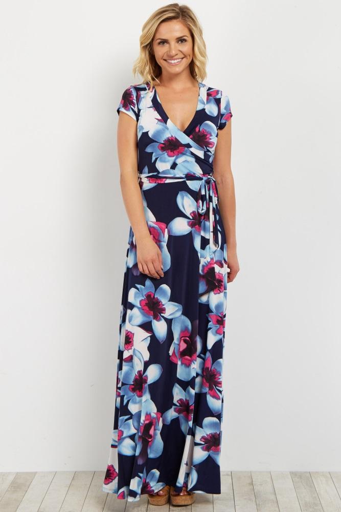 00d68d1bd5 Navy Floral Short Sleeve Maternity/Nursing Maxi Wrap Dress