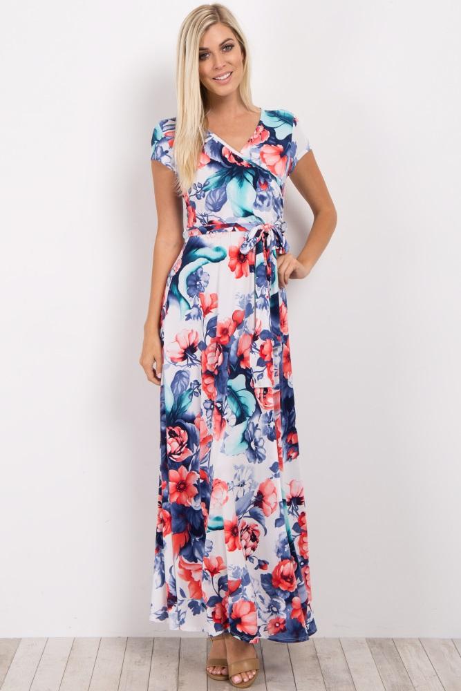 dba21ff71227b Ivory Red Floral Short Sleeve Maternity/Nursing Wrap Maxi Dress
