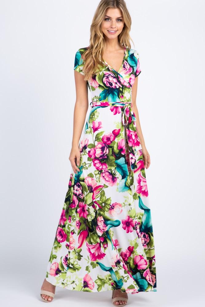 f2c33dc13ae53 Ivory Floral Maternity/Nursing Wrap Maxi Dress
