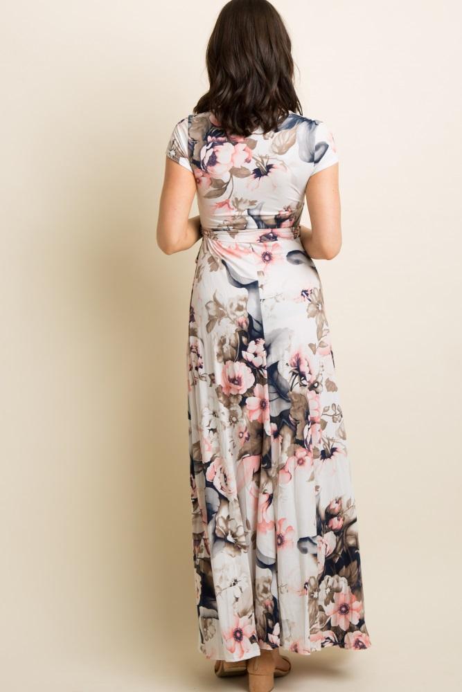 ebc6a8cdad5 Pink Floral Short Sleeve Wrap Maxi Dress