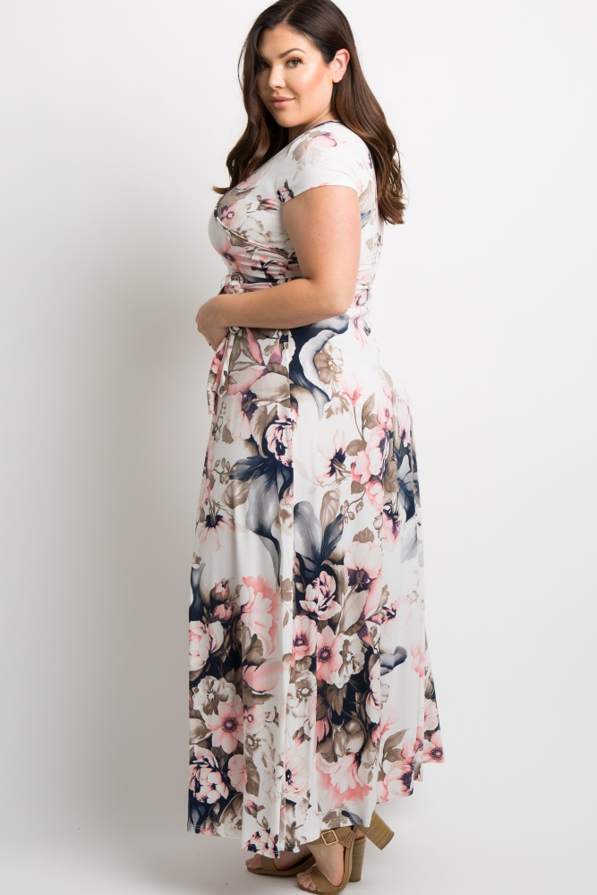 131449fe97c Pink Floral Short Sleeve Plus Wrap Maxi Dress