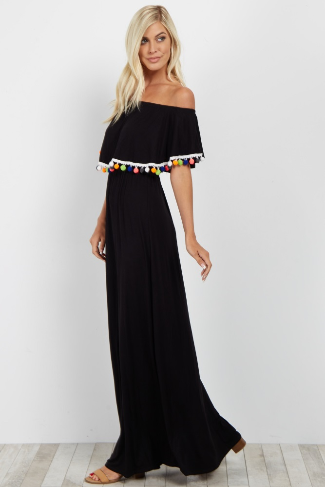 7d5242cd8c943 Black Pom Trim Off Shoulder Maternity Maxi Dress