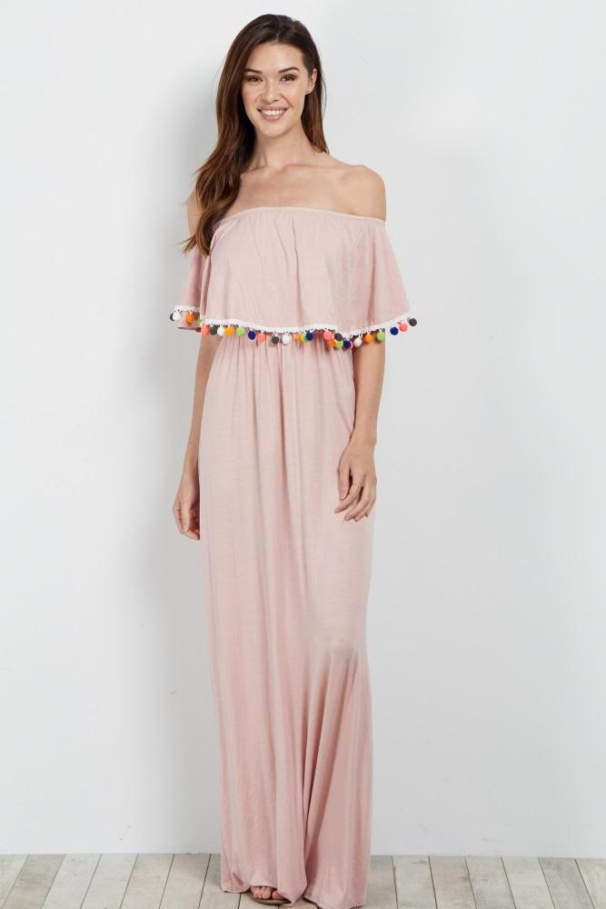 ce7207aa6eb85 Pink Pom Trim Off Shoulder Maternity Maxi Dress