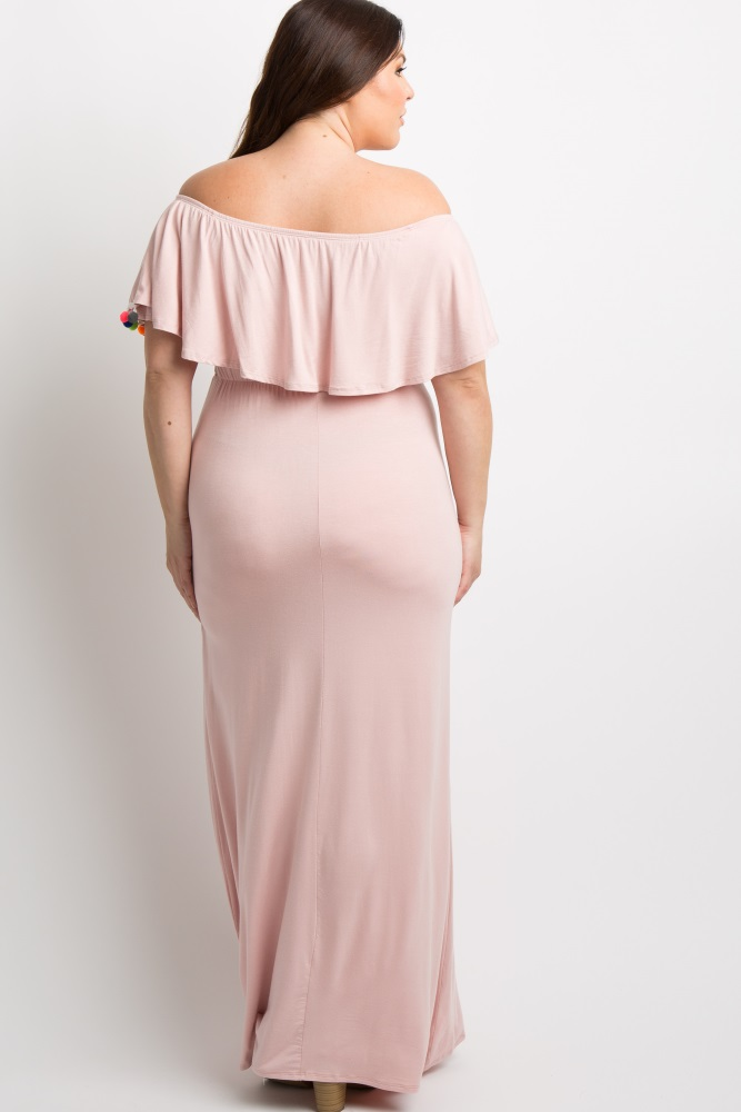 c2b3aacee807e Pink Pom Trim Off Shoulder Plus Maternity Maxi Dress