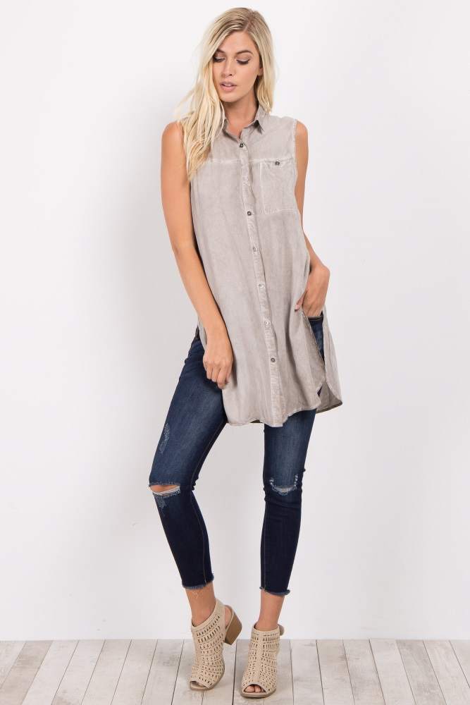 96ac78448 Grey Sleeveless Button Down Maternity Top