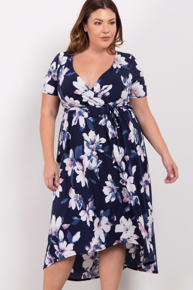 Navy Floral Hi-Low Plus Wrap Dress