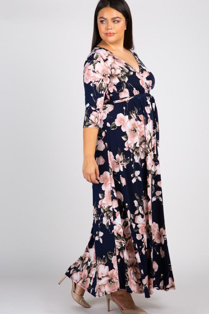 3b933b82f7 Navy Floral Plus Wrap Maxi Dress