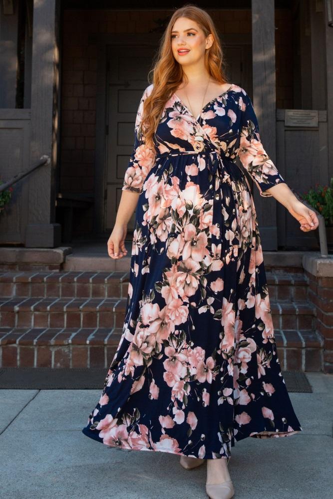 db23f683e6 Navy Floral Plus Wrap Maxi Dress