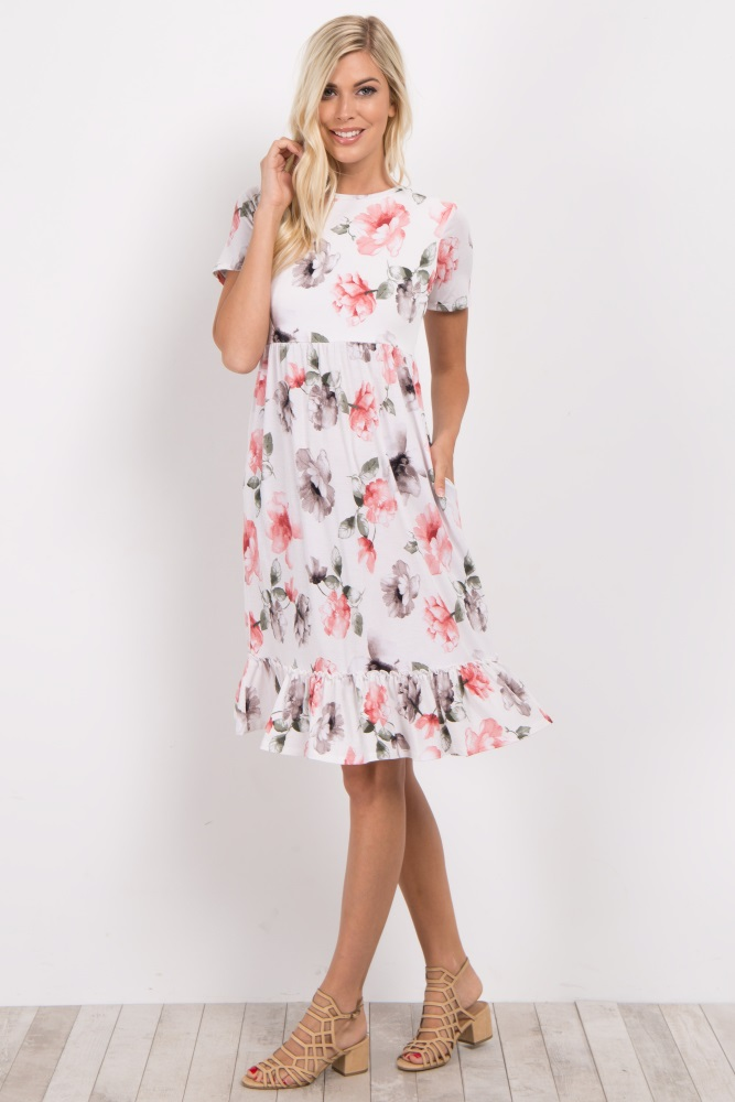 a2d953529840d Ivory Floral Ruffle Trim Maternity Midi Dress