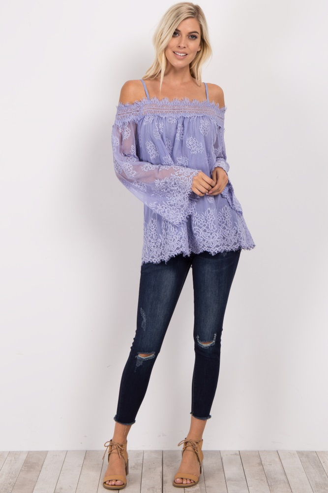 71c161ba52 Periwinkle Lace Overlay Cold Shoulder Top