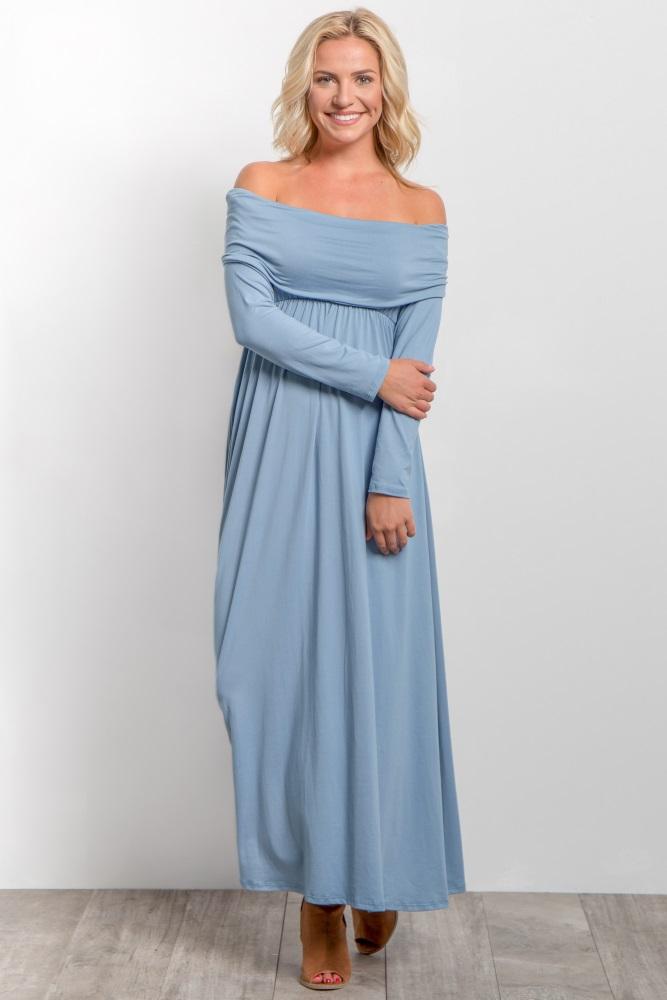 d0e92dffdb1 Blue Foldover Off Shoulder Maternity Maxi Dress