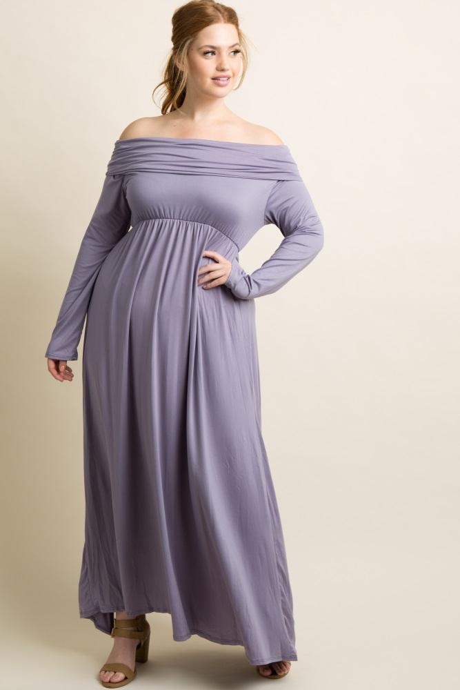 Lavender Foldover Off Shoulder Plus Maxi Dress