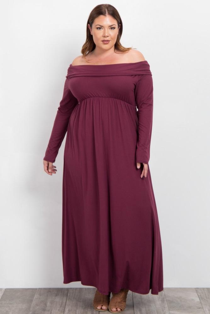 9635792075 Burgundy Foldover Off Shoulder Plus Maternity Maxi Dress