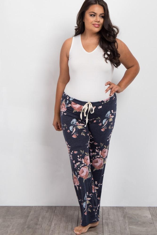 622396cfed665 Navy Rose Floral Plus Maternity Pajama Pants