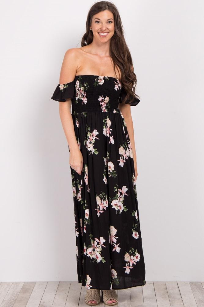 069badd674 Black Floral Off Shoulder Smocked Maternity Maxi Dress