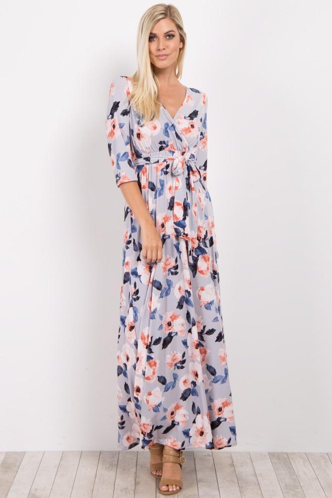122c4d4184 Grey Floral Maternity Nursing Wrap Maxi Dress