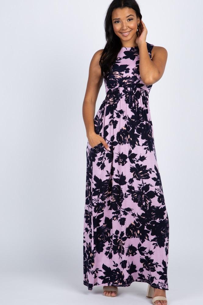 purple rose floral sleeveless maxi dress