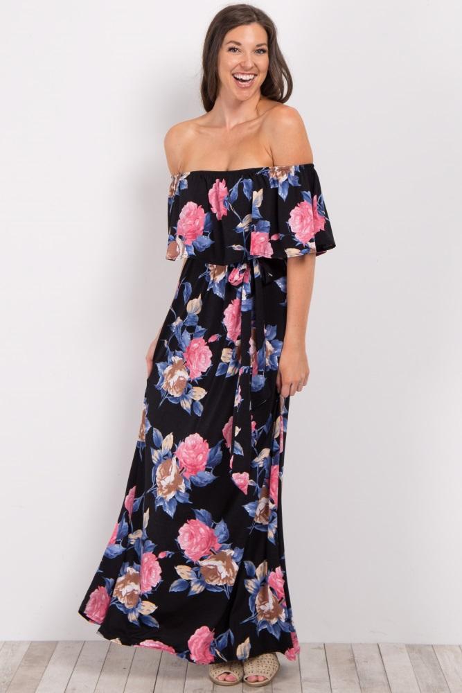 ca601c2f77e9 Black Floral Off Shoulder Sash Tie Maternity Maxi Dress