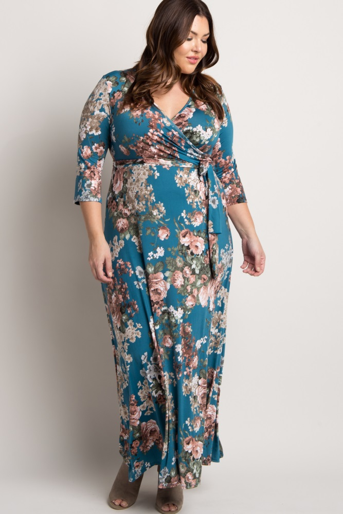 d7e1a19ae3b8a Jade Floral Sash Tie Plus Maternity/Nursing Maxi Dress