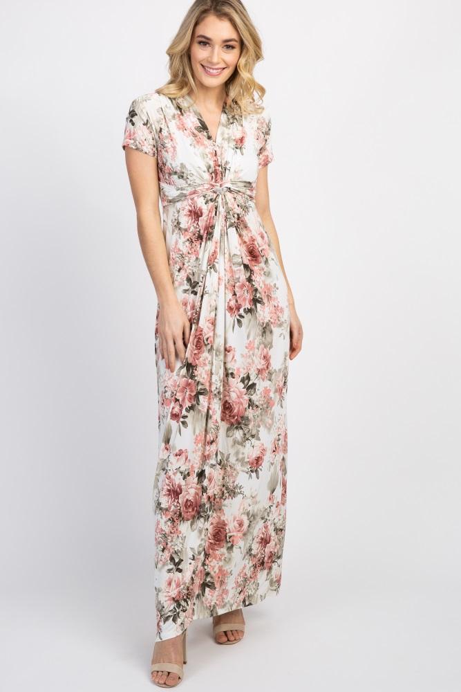 8612603412ee0 Ivory Floral V Neck Knot Front Maternity Maxi Dress