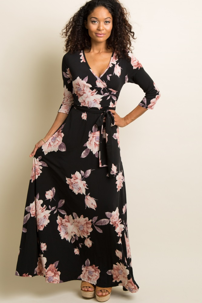 2c5ba9f8615e7 Black Floral Print Maternity/Nursing Wrap Maxi Dress