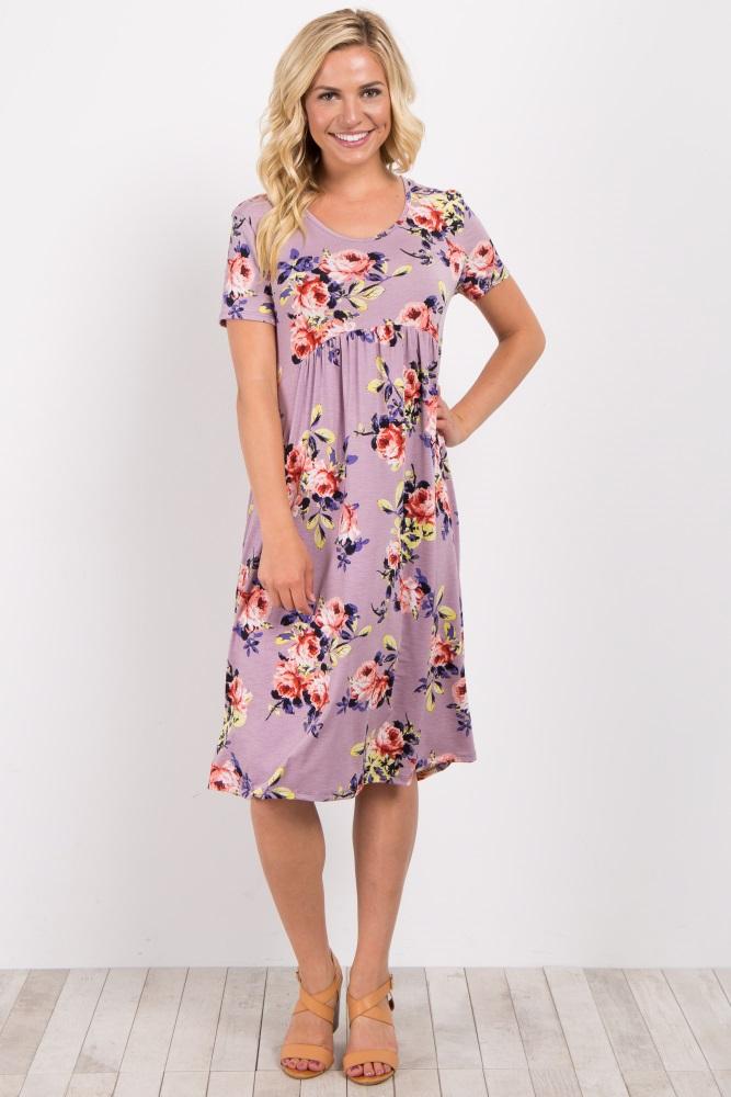 39b53e07189 Purple Floral Short Sleeve Maternity Midi Dress