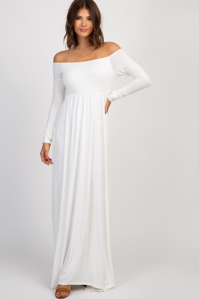 46fa30db0b Ivory Solid Off Shoulder Maternity Maxi Dress