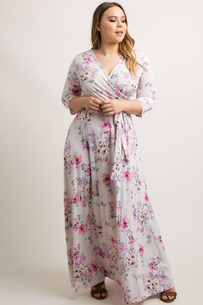 50ffe6d590d Ivory Pink Floral Plus Maternity/Nursing Wrap Maxi Dress