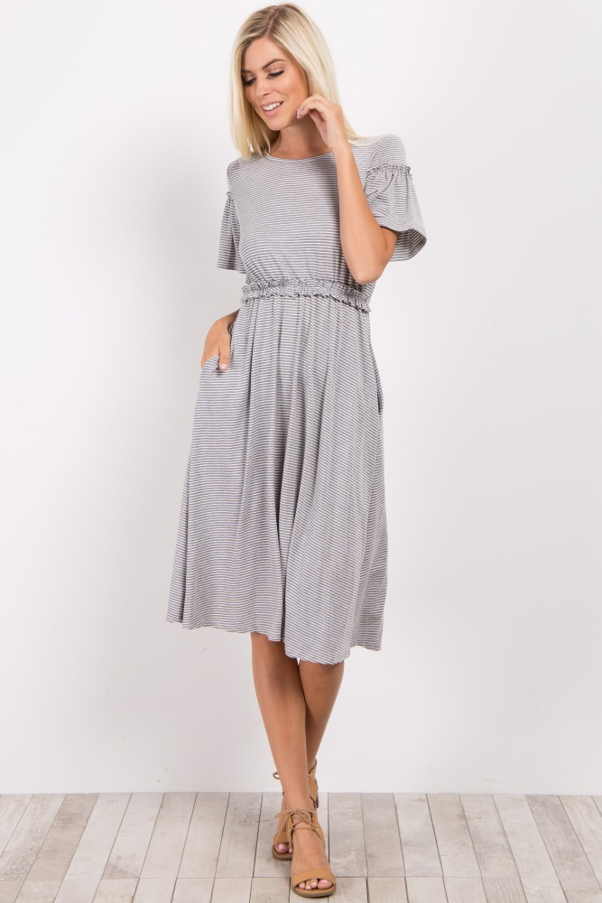 d0d23713c494 Grey Striped Ruffle Short Sleeve Maternity Dress