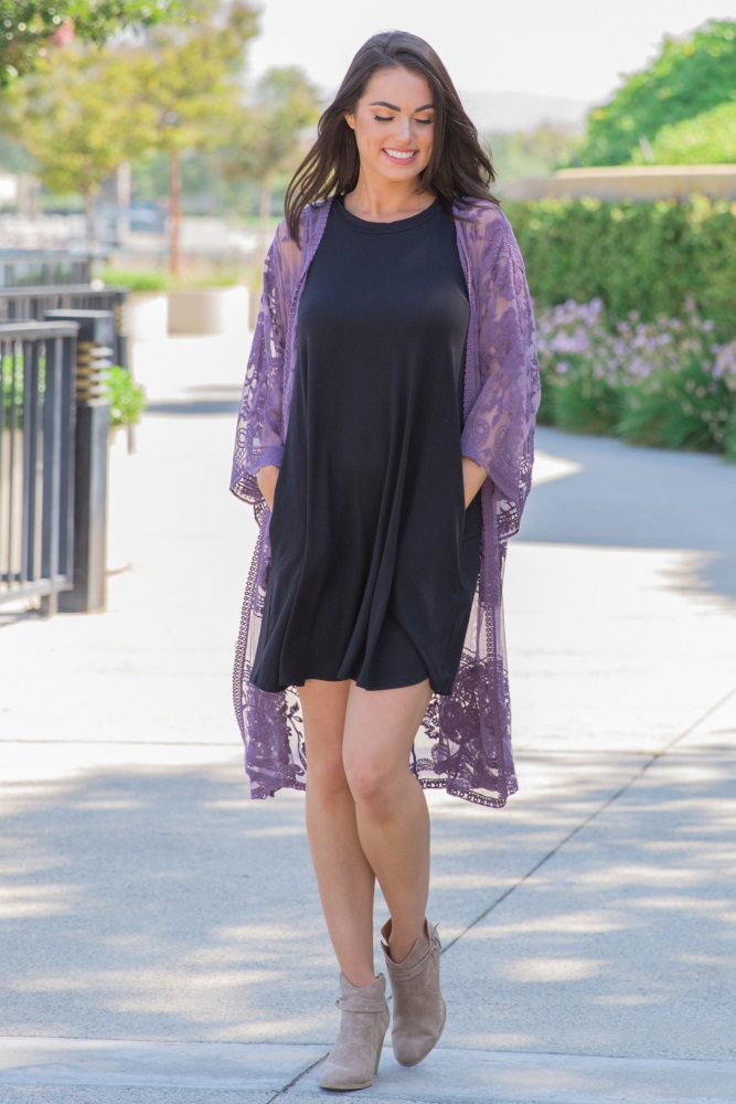 7ab61ba4f5dd0 Purple Lace Mesh Long Maternity Kimono