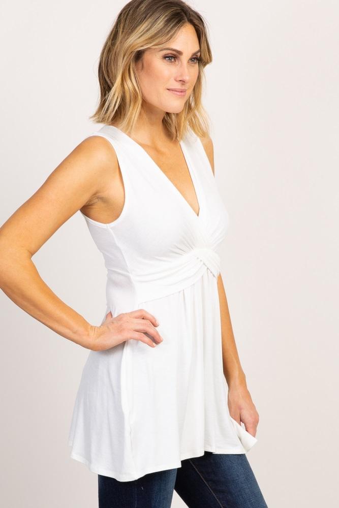 21169a21937 Ivory Sleeveless Draped Front Maternity/Nursing Top