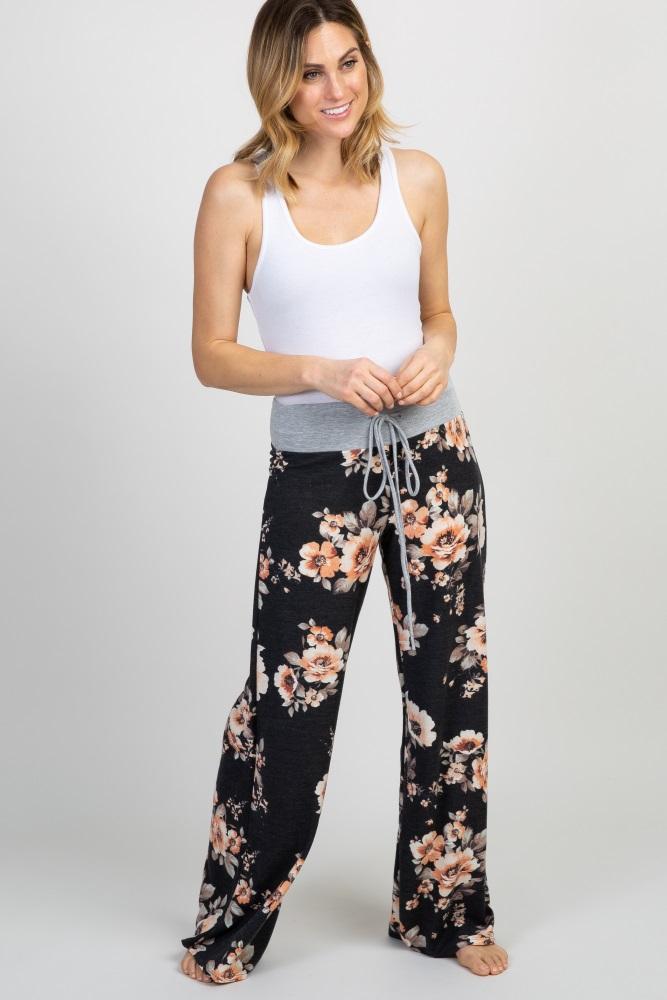 56d692ad5f4e3 Black Floral Maternity Pajama Pants