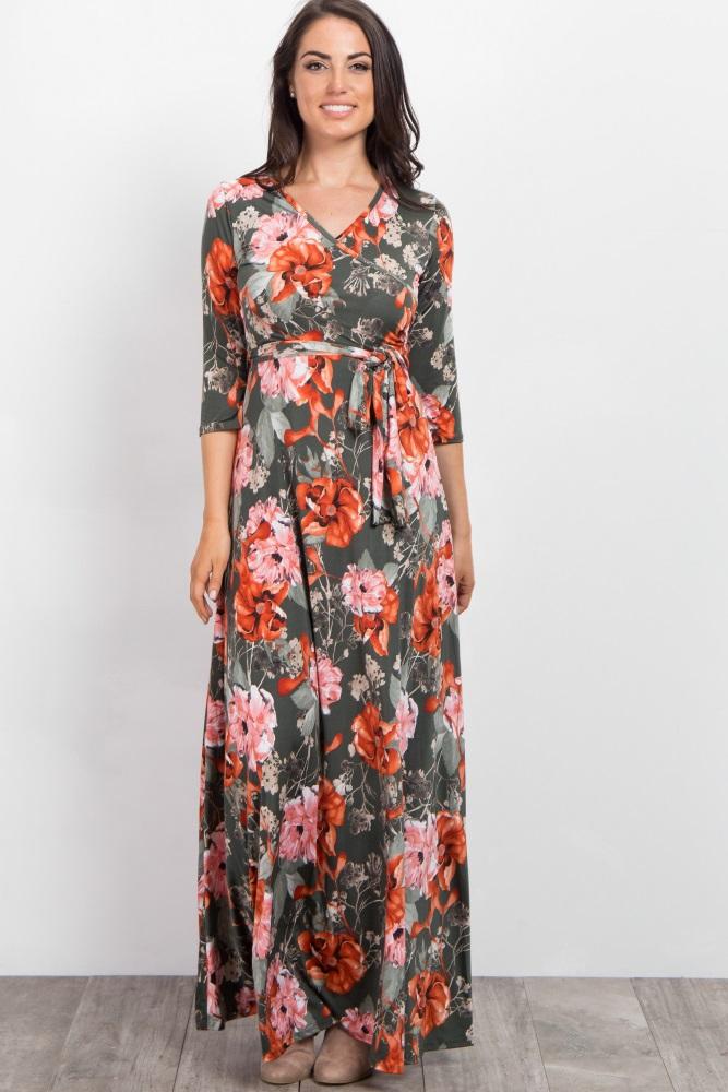 fd9993a1f1a Green Floral Sash Tie Maternity Nursing Maxi Dress