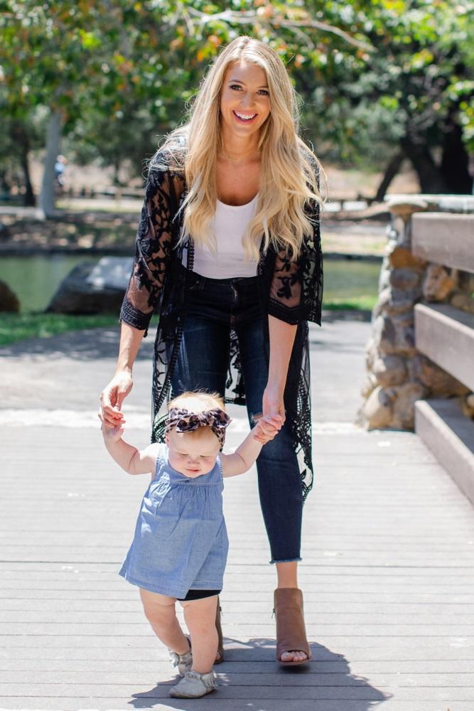 b36172cc0 Black Lace Mesh Long Maternity Kimono