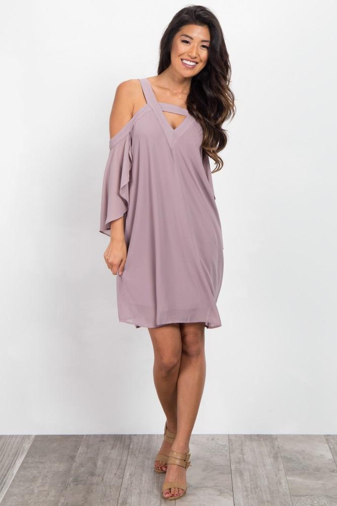 c05ecbd57dea Lavender Chiffon Cold Shoulder Cutout Dress