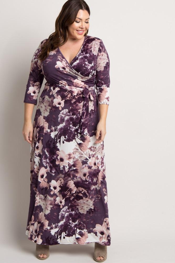 bac21ef3a800 Purple Floral Sash Tie Plus Maternity/Nursing Maxi Dress