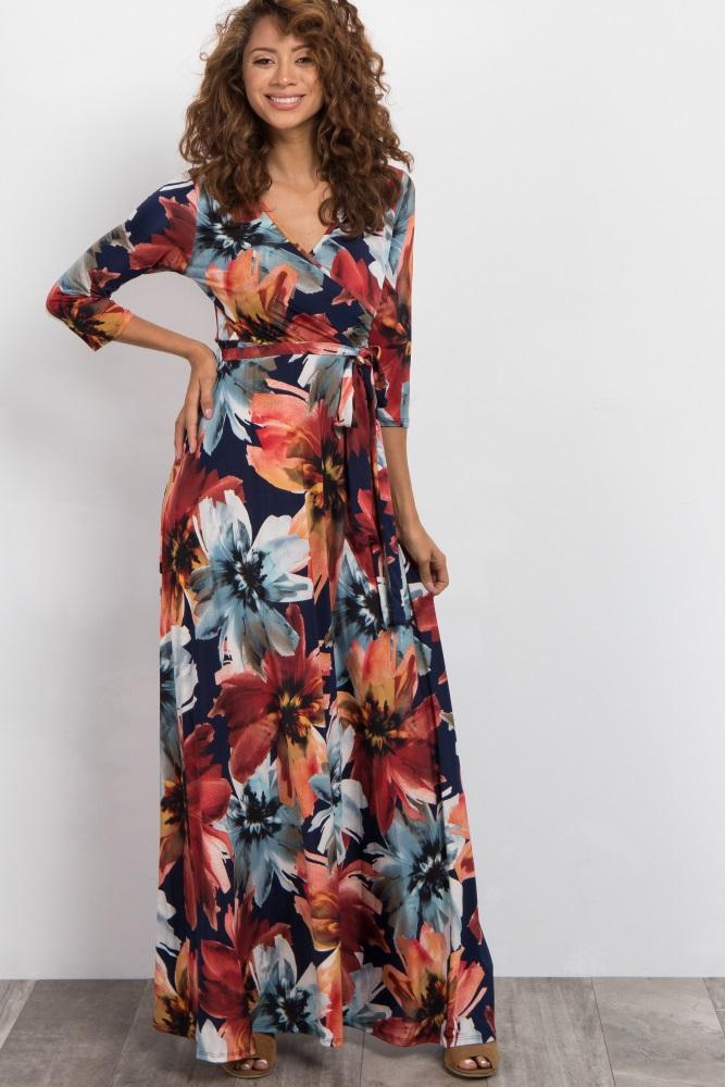 2ae1235f90 Navy Floral Draped 3 4 Sleeve Maternity Nursing Maxi Dress