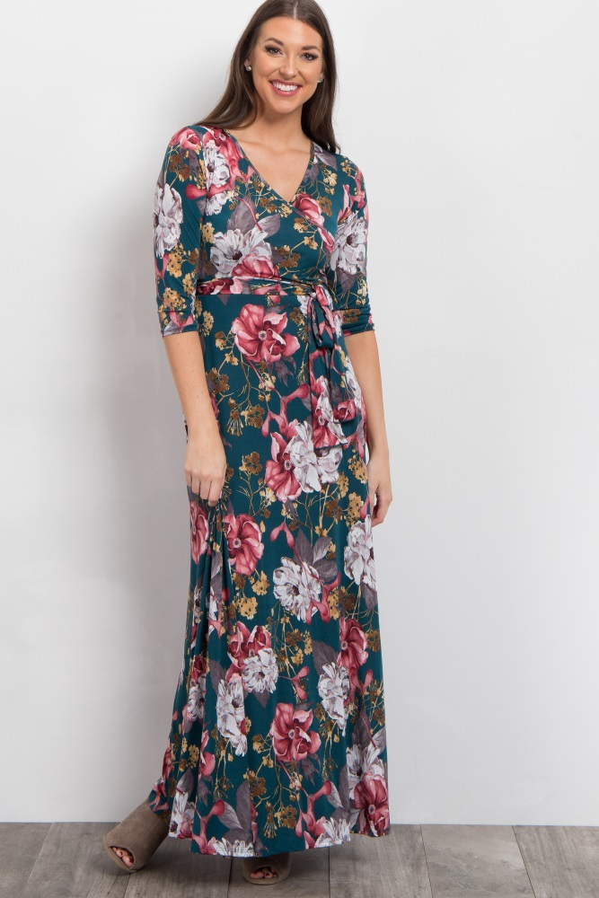 forest green floral sash tie maxi dress