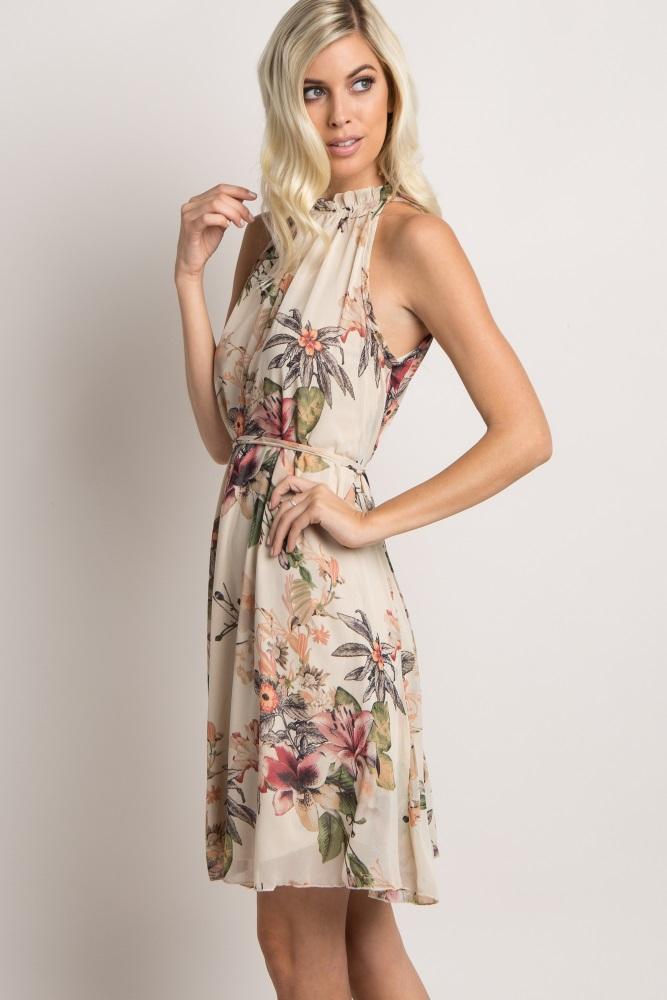 6bd00141a84ba Ivory Floral Chiffon High Neck Maternity Dress