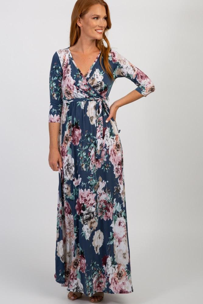 grey abstract floral sash tie  nursing maxi dress