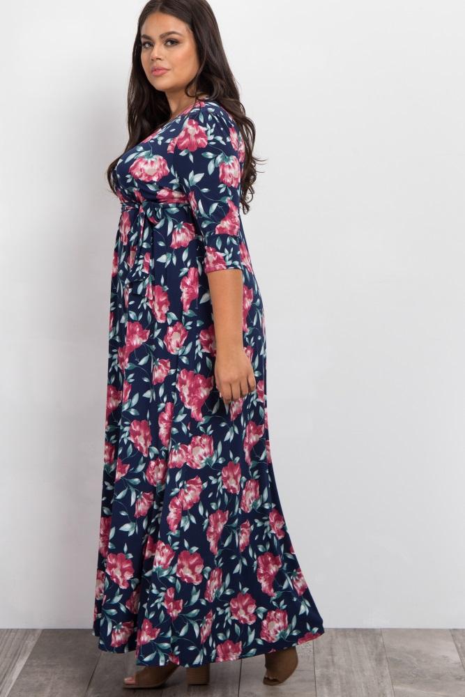 6110fc16b Navy Blue Floral Sash Tie Plus Maternity/Nursing Wrap Maxi Dress