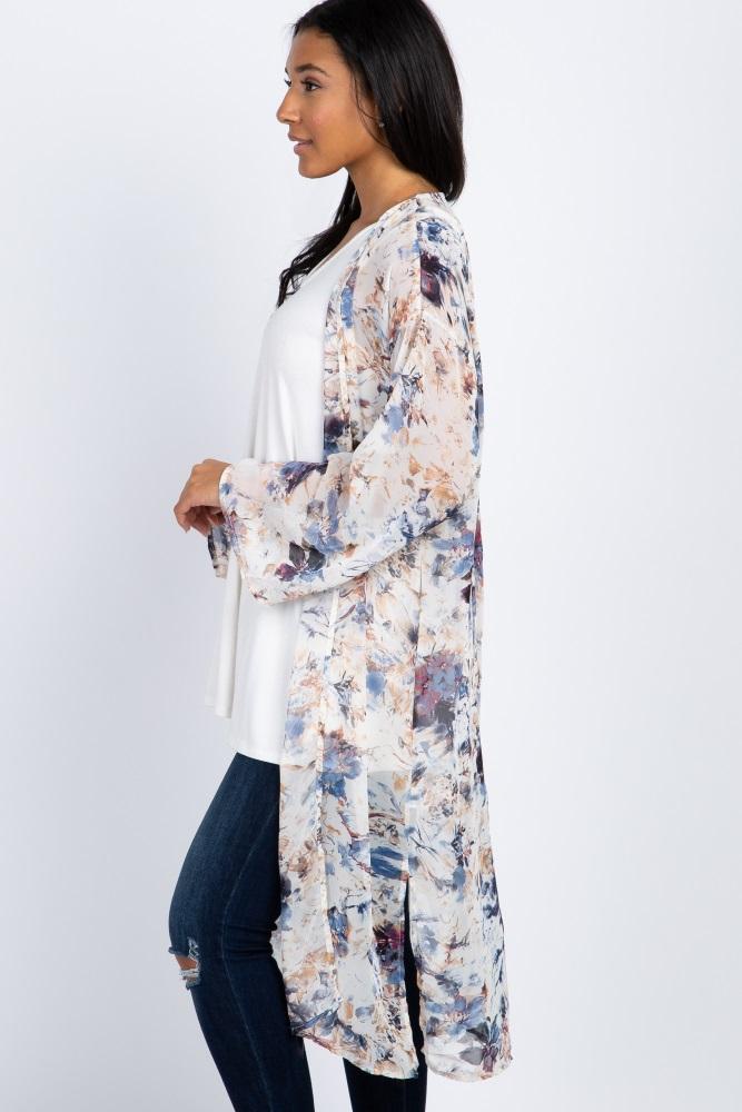 7e5e4bc0be3 Ivory Abstract Floral Chiffon Long Maternity Kimono