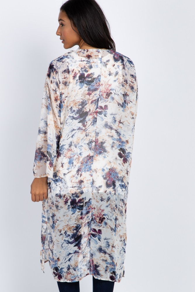 8cfc5722d9 Ivory Abstract Floral Chiffon Long Maternity Kimono