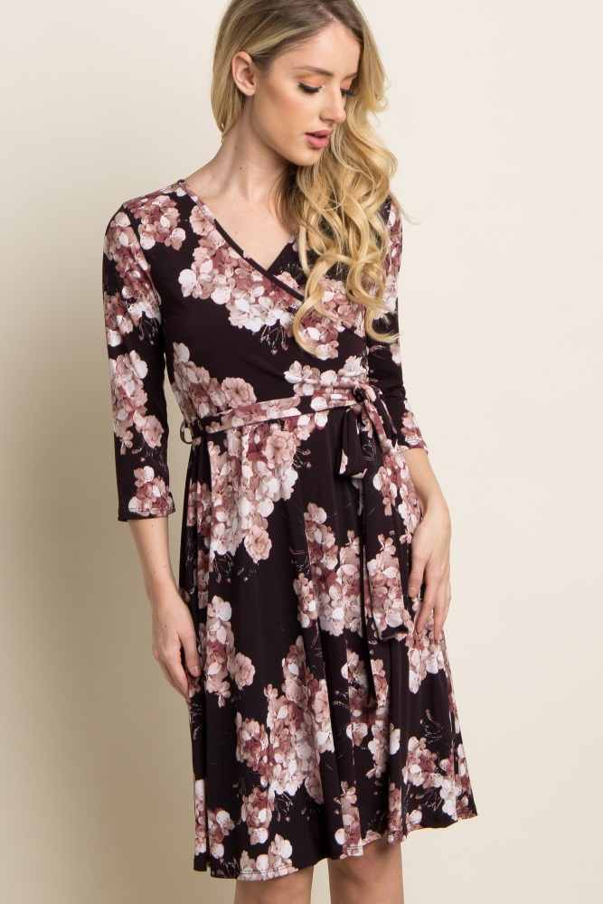 c099d71ce84 Purple Floral Print Sash Tie 3 4 Sleeve Maternity Wrap Dress