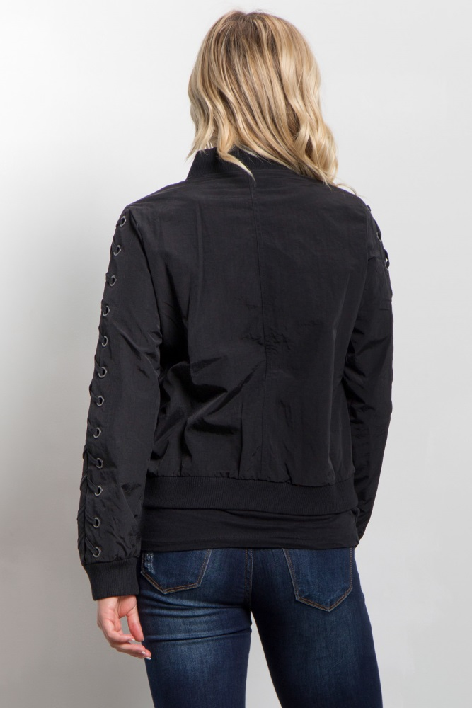 f32d42c87c65b Black Lace Up Sleeve Maternity Bomber Jacket