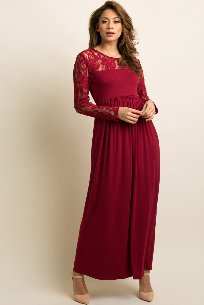 996786b3c30f4 Burgundy Lace Sleeve Maternity Maxi Dress